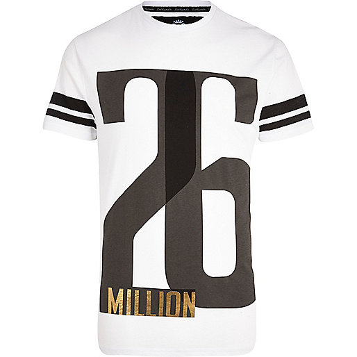 White 26 Million print stripe sleeve t-shirt