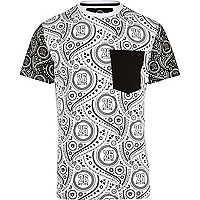 White 26 Million paisley colour block t-shirt