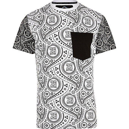 White 26 Million paisley colour block t-shirt