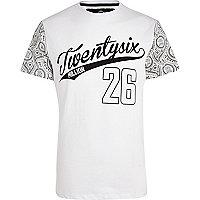 White 26 Million paisley sleeve t-shirt