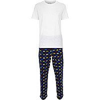 Blue moustache print pyjama set