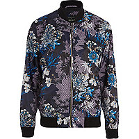 Purple oriental bomber jacket