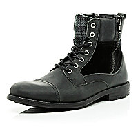Black plaid panel military boots