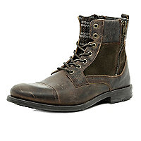 Brown plaid panel military boots