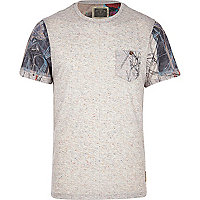 Grey Holloway Road printed sleeve t-shirt