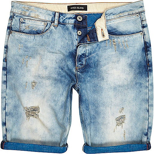 Light wash ripped bleached denim shorts