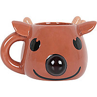 Brown colour change reindeer mug
