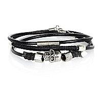 Black skull bracelets pack