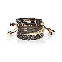Brown mixed beaded and woven bracelet pack