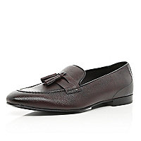 Dark red tassel trim loafers