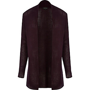 Dark red mesh knit open front cardigan