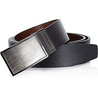 Black brushed silver buckle belt