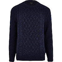 Navy blue cable knit jumper