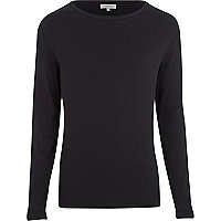 Black rib crew neck t-shirt