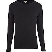 Black rib crew neck t-shirt