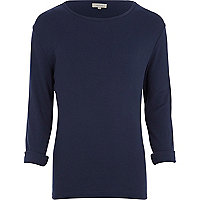Navy rib crew neck t-shirt