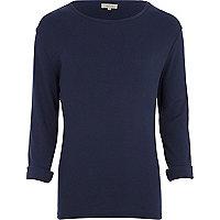 Navy rib crew neck t-shirt