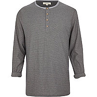 Grey stripe long sleeve grandad t-shirt