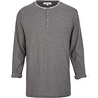 Grey stripe long sleeve grandad t-shirt