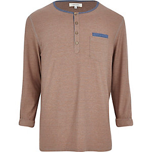 Light brown stripe grandad t-shirt