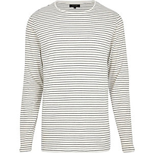Ecru stripe long sleeve t-shirt