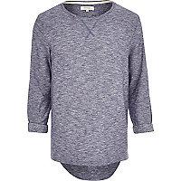 Navy blue textured marl t-shirt