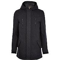 Dark grey wool parka jacket