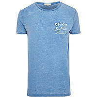 Blue Surf Club burnout print t-shirt