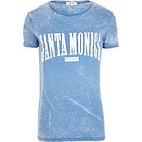 Blue burnout Santa Monica print t-shirt