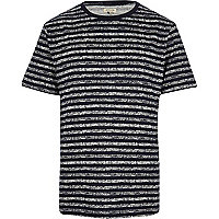Navy textured stripe print t-shirt
