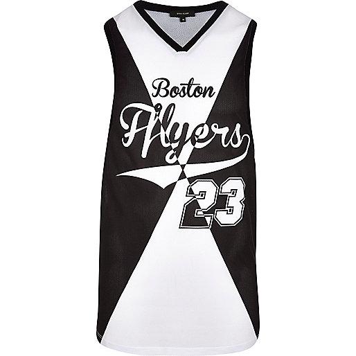 Black Boston Flyers 23 print mesh vest