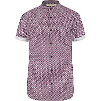 Purple brick print grandad collar shirt