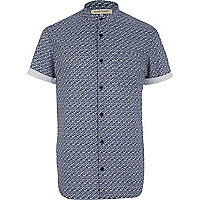 Navy brick print grandad collar shirt