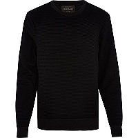Black ripple textured sweatshirt