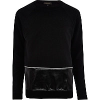Black leather-look zip panel sweatshirt