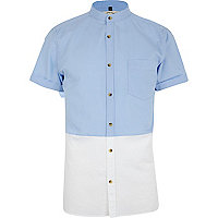 Blue two-tone short sleeve shirt