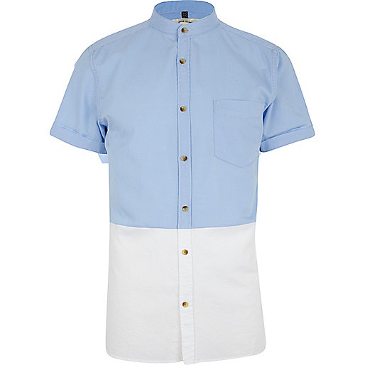 Blue two-tone short sleeve shirt