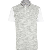 Grey space dye contrast sleeve polo shirt