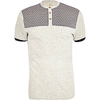 Ecru tile print yoke grandad polo shirt