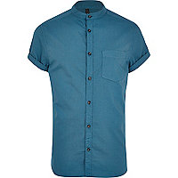 Teal grandad collar Oxford shirt