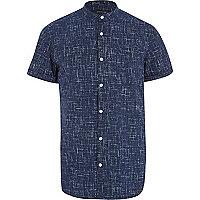 Navy linear print grandad shirt