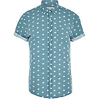 Teal star print short sleeve shirt
