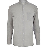 Grey grandad collar poplin shirt