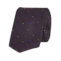 Purple textured spot tie