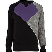 Purple Antioch colour block sweatshirt