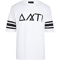 White Antioch symbol print t-shirt