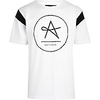 White Antioch circle logo print t-shirt