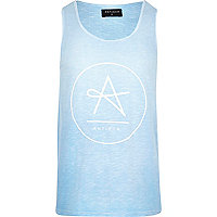 Blue Antioch circle logo print vest