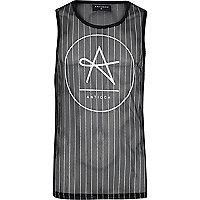 Black Antioch pinstripe mesh vest