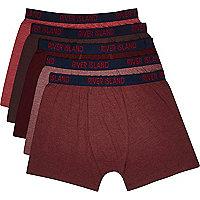 Dark red pack of 5 boxers
